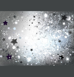 Silver background with stars vector