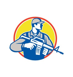 Soldier military serviceman assault rifle side vector