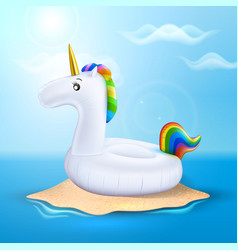 Unicorn inflatable pool ring on beach vector