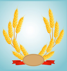 Wheat wreath with copy space for text vector