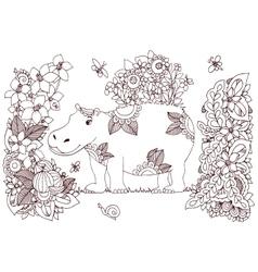 Zen tangle hippopotamus in a vector