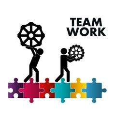 Pictogram gears puzzle teamwork support design vector