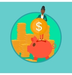 Woman putting coin in piggy bank vector