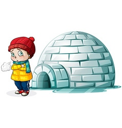 Boy standing in front of igloo vector image