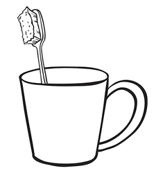 toothbrush in cup vector image