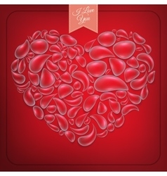 Heart from water drops on red background eps 10 vector