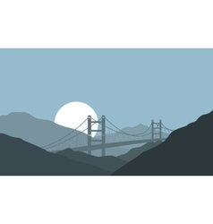 Bridge on hill background nature landscape vector