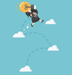 Business woman holding light bulb jump up to sky vector
