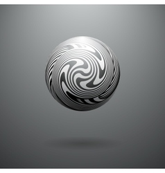 Black and white opt art sphere vector