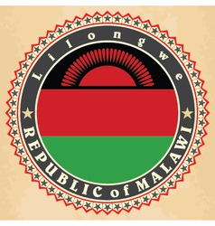 Vintage label cards of malawi flag vector