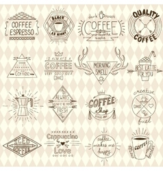Collection of hipster sketchy coffee labels vector