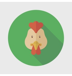Chicken flat icon with long shadow vector