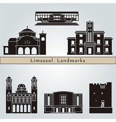 Limassol landmarks and monuments vector