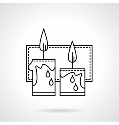 Festive candles black line icon vector