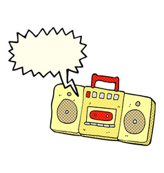 Cartoon radio cassette player with speech bubble vector
