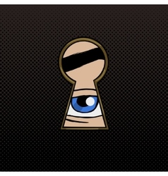 Eye in the keyhole pop art style vector