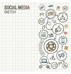 Social media hand draw integrate icons set on vector