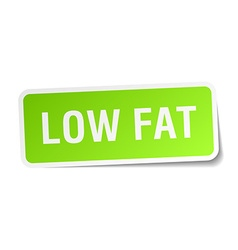 Low fat green square sticker on white background vector