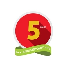 Anniversary 5th logo badge template with shadow vector image