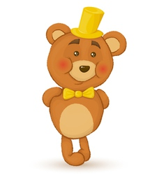 bear holds his hands behind his back bear with hat vector image vector image