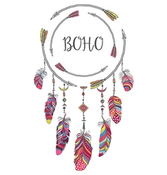 Boho style frame for t-shirt and decoration vector