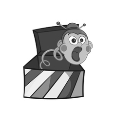 Box with jumping toy icon black monochrome style vector