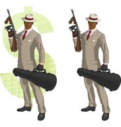 Cartoon afroamerican mafioso with Tommy-gun vector image vector image