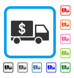 Cash delivery car framed icon vector