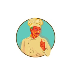 Chef with mustache thumbs up circle wpa vector