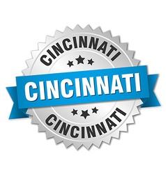 Cincinnati round silver badge with blue ribbon vector