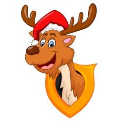 cute deer christmas cartoon vector image