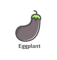 eggplant thin line icon isolated aubergine vector image vector image