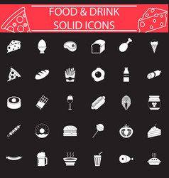 Food and drink solid icon set vector