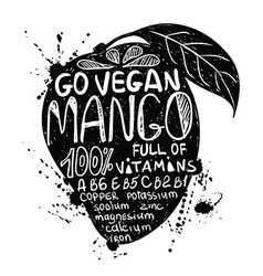Go Vegan Mango Illustration vector image vector image