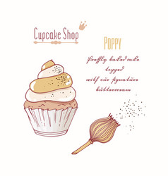 Hand drawn cupcake poppy flavor vector