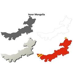 Inner mongolia blank outline map set vector