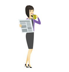 lady drinking coffee and reading news in newspaper vector image