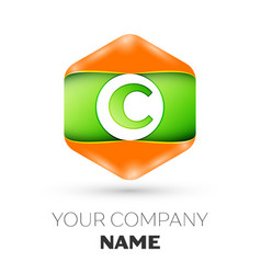 Letter c logo in the colorful hexagonal vector
