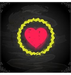 Love heart icon on chalkboard vector