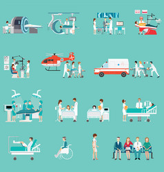 Medical staff and patients different character in vector