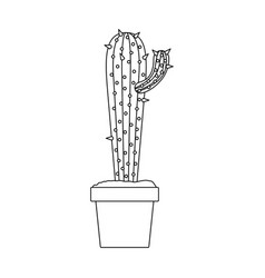 Monochrome silhouette with cactus with small vector