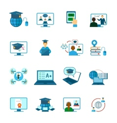 Online education icon flat vector