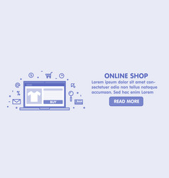 online shop concept line laptop with web page vector image vector image