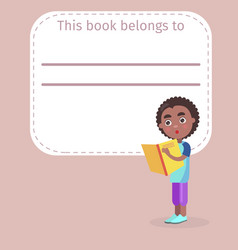 place for book owner name and african boy on cover vector image vector image