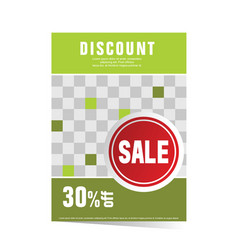 Poster green with sticker sale vector