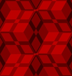 Red 3d cubes striped with net seamless pattern vector image