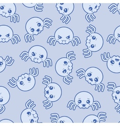 Seamless kawaii cartoon pattern with cute spiders vector