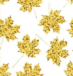 Seamless pattern with golden maple leaves vector image vector image