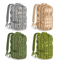 set icons military camouflage backpacks vector image