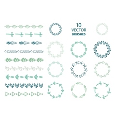 set of 10 floral abstract brushes vector image